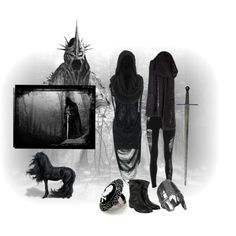 Nazgûl by wintermoon on Polyvore featuring Religion Clothing, Belstaff, Aurélie Bidermann, Gestuz, lord of the rings, ringwraiths, sauron, darkness, nazgûl and one ring