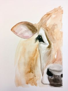 Jersey cow kirsten dill watercolor etsy sonoranwatercolors w Watercolor Pencil Art, Watercolor Animals, Watercolor Paintings, Watercolors, Watercolor Techniques, Animal Paintings, Animal Drawings, Art Drawings, Cow Painting