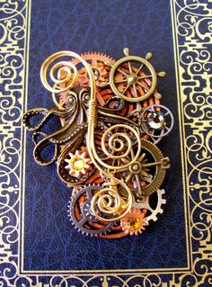 steampunk brooches and pins | Steampunk Brooch (P142) - Pin or Pendant - Kraken Octopus and Gears ...