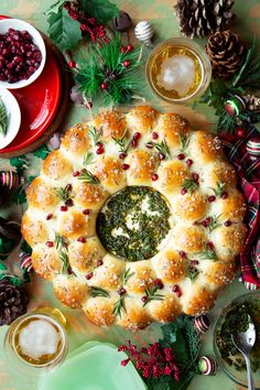 Baked Brie and Bread Wreath Appetizers Brunch Casseroles, creatingHOME // Renee Caron, Appetizers Brunch Casseroles Gebackener Brie & . Christmas Bread, Christmas Cooking, Christmas Wreath Bread Recipe, French Christmas Food, Christmas Meal Ideas, Australian Christmas Food, Christmas Casserole, Christmas Dinner Menu, Christmas Kitchen