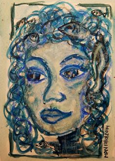 Of Gnomes and Faes and Little Folk5: The Water Fae by mpn Gouache, Wax Crayons, Ink on heavy watercolour paper
