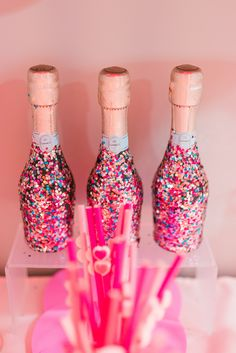 Because WINE not cover a champagne bottle in glitter? used Beacon Felt Glue for this fun DIY! Glitter Champagne Bottles, Felt Glue, Fun Diy, Party Ideas, Diy Crafts, Wine, Cover, Decor, Fun Crafts To Do