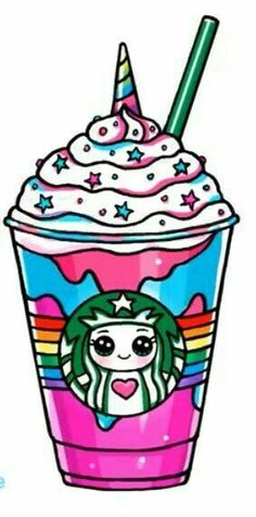 Kawaii Starbucks Einhorn: Starbucks - A R T ● Sketch 365 Kawaii, Arte Do Kawaii, Kawaii Art, Kawaii Stuff, Unicorn Drawing, Unicorn Art, Cute Unicorn, Cartoon Unicorn, Cute Easy Drawings