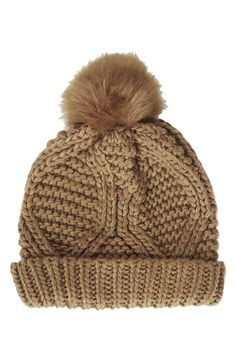 f4d055c2f93 Cable Knit Pompom Beanie