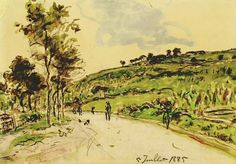 'Route près Balbin' , Landweg - Johan Barthold Jongkind, 1885 Dutch, 1819-1891 Chalk and watercolour on paper