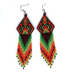 Native American style  seed bead earrings  boho by Anabel27shop