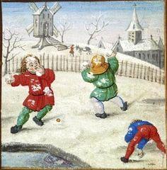 Zabawa śnieżkami (flamandzka miniatura z ok. 1510 r.).