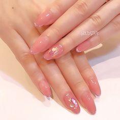 Make an original manicure for Valentine's Day - My Nails Soft Pink Nails, Sparkly Nails, Silver Nails, Natural Acrylic Nails, Best Acrylic Nails, Cute Nails, Pretty Nails, Asian Nails, Korean Nail Art