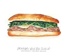 This is a listing for a Philadelphia Roast Pork Sandwich Watercolor print for your home or kitchen. Beloved food favorite and staple of the city of Philadelphia. Please indicate if you would like horizontal or vertical in the notes of your order. This is a print of my original watercolor painting. It will be printed on an Epson printer with Epson fine art paper. Acid free base, white, textured matte. Printing will be as close to the original as possible. Please note that some computer… Roast Pork Sandwich, Pork Roast, Watercolor Print, Watercolor Paintings, Philly Food, Free Base, Sandwich Drawing, Food Art, Philadelphia