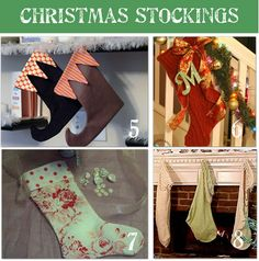 Handmade Christmas Stocking Tutorials...I really like #7 above...floral & polka dots...kinda retro....and tge black, white & red elf-toe stocking in #5 too.