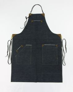 Sewn locally and finished here in our studio. Our denim work aprons are made from 100% cotton selvedge denim produced in the US, with real leather and copper rivets for stability. There are fully adju