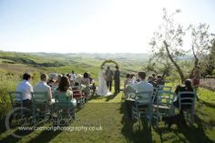 #Destination wedding at The Lazy Olive, in Asciano, #Tuscany. Blissful ceremony in the open air in between the gorgeous hills.