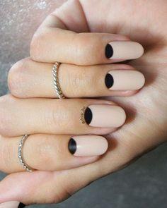 Black & Nude Half Moon Nails