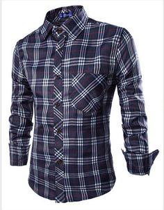 Men's Plaid Long Sleeve Slim Fit Fit Lumberjack Casual/Dress Shirt ...