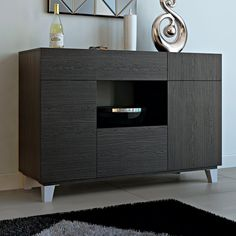 Shop AllModern for stylish sideboards and buffets. Store your extra table linens, dinnerware, and flatware in a modern kitchen buffet and expand your storage options! Rustic Living Room Furniture, Dining Furniture, Adjustable Shelving, Open Shelving, Cube Shelves, Shelf, Modern Buffet, Modern Cabinets, Sideboard Buffet
