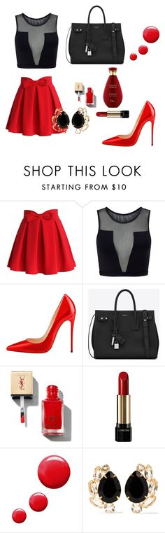 """""""Untitled #1"""" by medina-besic ❤ liked on Polyvore featuring Chicwish, Varley, Yves Saint Laurent, Lancôme, Topshop and Bounkit"""