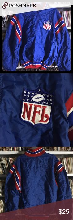 1980's NFL pullover RED WHITE BLUE Sideline  wear This pullover was very popular in the 1980's with NFL officials and staff. It's in good shape.  Size L. It's in good shape but with all vintage clothes there may be small spots or blemishes that I did not initially discover so please keep that in mind. They may also have an initial musty smell because many pieces I have not laundered to preserve originality. Please take a look at all of my items for more great finds. Thanks. Vintage Jackets…