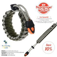 A 2-in-1 Survival Kit: Beefy/Wide Paracord Bracelet with Emergency Whistle!