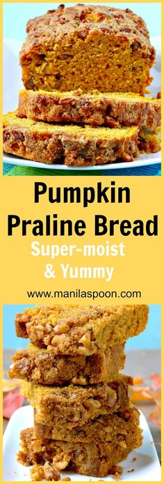 This bread is moist, delicious and with a sweet, nutty praline topping is totally amazing!  Pumpkin Praline Bread - a great addition to your Thanksgiving, Christmas or holiday dessert table. | manilaspoon.com