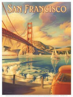 Golden Gate Bridge vintage print from the Sixties. See the VW bus down at the
