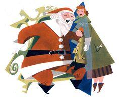 """Mid-century Santa    Raymond Pratt. From the 1952 """"What's New"""" by Abbott Laboratories"""