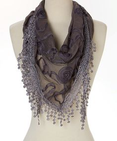Look at this Dark Gray Rose Silk-Blend Scarf on #zulily today!