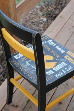 Hand painted Iowa Hawkeye Chair painted by ME :) Outdoor Tables, Outdoor Decor, Hawkeye, Iowa, Hand Painted, Outdoor Furniture, Chair, Painting, Home Decor