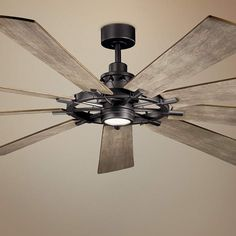 Kichler Gentry XL Anvil Iron LED Ceiling Fan Home Decorators Collection Artshire 52 in. Ceiling Fan In Kitchen, Large Ceiling Fans, Living Room Ceiling Fan, Black Ceiling Fan, Home Ceiling, Outdoor Ceiling Fans, Led Ceiling, Farmhouse Ceiling Fans, Farmhouse Lighting