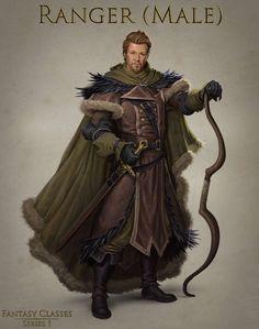 m Ranger Noble Medium Armor Cloak Longbow Longsword male Northern Wall Patrol Captain story med Fantasy Character Design, Character Concept, Character Inspiration, Character Art, Concept Art, Fantasy Male, Fantasy Armor, Medieval Fantasy, Fantasy Art Warrior
