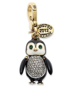 Juicy Couture Charm, Gold Tone Penguin Pave Charm - All Fashion Jewelry - Jewelry & Watches - Macy's