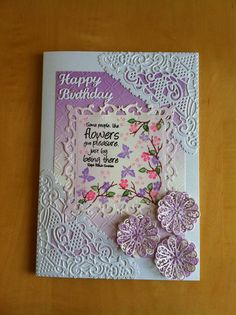 Card I have just made for my Mums friend's birthday, she will be 99. I used a crafts too lattice embossing folder, the centre square is a spellbinder die which I stamped with card-io stamps. The rest are tattered lace dies lacy daisy and Chantilly lace corner. www.patsicrafts.co.uk