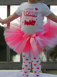 Valentine's Day Outfit - Girls Valentine Shirt - I already have my Valentine his name is DADDY - Baby Valentine Outfit. $42.95, via Etsy.