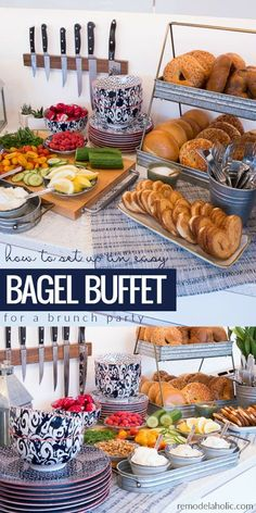 How to set up a fun, cute, and easy bagel buffet for a breakfast or brunch party. Perfect for Mother\'s Day, bridal showers, baby showers, or just a fun get-together with girlfriends. And the best part is that all of those pretty serving dishes are from the BHG Live Better line at Walmart! I love the modern take on classic blue and white patterned dishes, and the galvanized farmhouse trays are so affordable! #ad