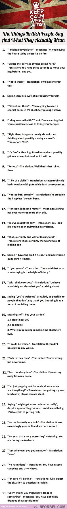 30 Things British People Say And What They Actually Mean…
