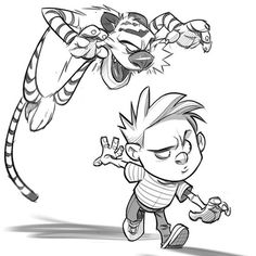 Calvin and Hobbes sketch. These comics are the reason I became an illustrator. Drawing Cartoon Characters, Graffiti Characters, Cartoon Sketches, Cartoon Styles, Drawing Sketches, Art Drawings, Cartoon Kunst, Comic Kunst, Cartoon Art