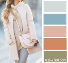 Soft dusty neutrals + muted blue and green #colour #combinations