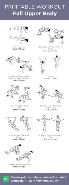 Full Upper Body:my visual workout created at WorkoutLabs.com • Click through to customize and download as a FREE PDF! #customworkout