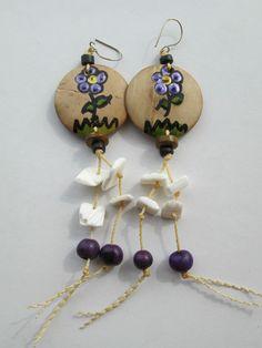 1 Paar Ohrringe Samen handbemalt aus Brasilien Länge ca. 10cm Ohr Hippie Goa