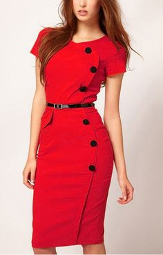 Sexy Red and Black Buttons Decorated Figure-hugging Short Sleeve BodyCon 82b6e0386