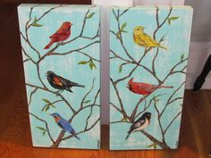 """A pair of """"3 Birds"""" paintings"""