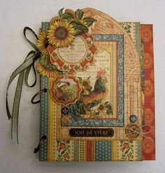 """My latest class project: A French Country Affair. It's a mini album/organizer made with Graphic 45's beautiful """"French Country"""" paper, chipboard, and banners. :)"""