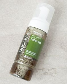 Green Tea Real Fresh Foam Cleanser (NEOGEN). This foaming cleanser contains fermented green tea extract to brighten and hydrate skin. The innovative formula is geared for oily, combination, and acne-prone skin, and gently removes impurities such as sweat and dirt from the skin without stripping your own natural oils. #koreanskincare