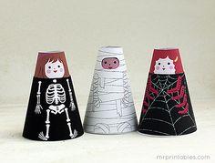 Cone Girls Halloween Paper Dolls - Mr Printables