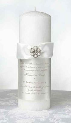 DIY Personalized White Unity Candle wedding favors