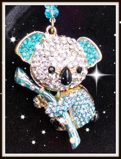 Swarovski Aqua/Teal Koala Keychain by Purrwoof on Etsy, $12.00