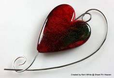 Shawl Pin Scarf Pin Brooch  Large Red Heart by ShawlPinHeaven, $10.00