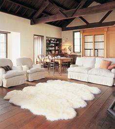 warm livingroom, love the wood floor with a cream area rug