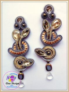 Soutache earrings gray and gold with crystals party fall winter by mysweetcrochet on Etsy https://www.etsy.com/listing/122532772/soutache-earrings-gray-and-gold-with