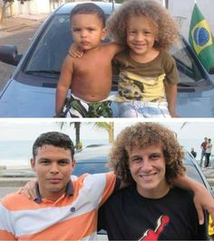 David Luiz e Thiago Silva reproduzem imagem de seus sósias mirins - Blog do BG