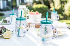 Ditch the dirty work. Our entire Mason Collection is dishwasher safe for easy entertaining from start to finish. Summer Barbecue, Easy Entertaining, Aladdin, Mason Jars, Birthday Parties, Tableware, Tumblers, Facebook Giveaway, Barbecues